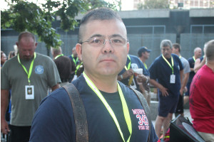 Murphy Fire Rescue member Genero Ocanas prepares to climb 110 flights of stairs at last year's annual Dallas 9/11 Memorial Stair Climb. Ocanas climbed for Firefighter James Coyle, an FDNY member on Ladder 3 that was killed at the World Trade Center during the Sept. 11, 2001, terrorist attack.