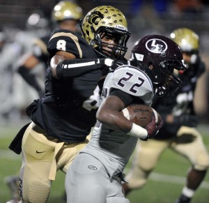 Roosevelt Joubert/Murphy Monitor Reuben Donald chases down a Lewisville ball carrier during last Friday's victory at Kimbrough Stadium. The Panthers improved to 4-2 in 6-6A and if they defeat Hebron tonight, they will clinch a spot in the postseason.