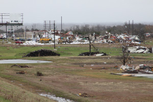 A group of businesses on Hwy. 78 in Copeville were destroyed and two people were killed by a tornado that swept through the area Saturday night.