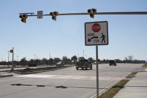 This light standard and warning sign at Windsor Dr. and North Murphy Rd. warns drivers of a crosswalk ahead across the street from McMillen High School.