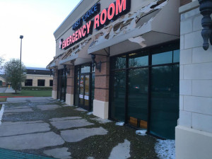 First Choice Emergency Room in Murphy suffered significant damage from the hail storm Wednesday, March 23. Courtesy of Kimberly Henderson.