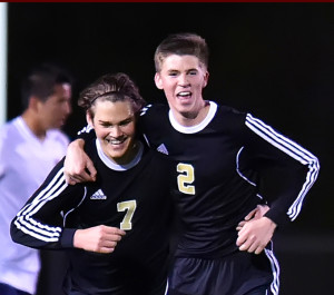 Roosevelt Joubert/Murphy Monitor Austen Spiars (2) congratulates Tucker Sparks (7) after the senior scores his third goal of the evening, which put East up 4-0 late in the second half.