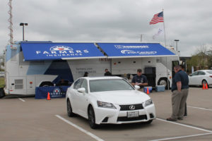 Farmers Insurance sent its Catastrophe Response Team to Murphy last week to process automobile and home claims from the hailstorm that hit Murphy and Wylie. The team set up in the Lowe's parking lot on FM 544 in Muphy.