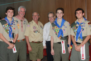 A triple Eagle celebration (Headline) Three Eagle Scouts from Troop 1776 were honored May 26 with a Court of Honor celebration at Murphy City Hall. From left Trevor Joiner, Assistant Scoutmaster and Scoutmaster Emeritus John Stone, Assistant Scoutmaster and Scoutmaster Emeritus Bill Hemingway, Committee Chair Sam Stricklin, Colin Engbrock and Kerry Joiner.
