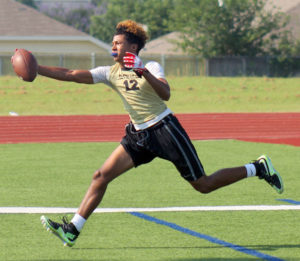 Greg Ford/C&SMediaTexas Plano East's Braylon Henderson stretches out to catch a pass during pool play at last week's 7-on-7 State Qualifying Tournament, which was hosted by Wylie. The Panthers won the tourney and qaulified for the July 8-9 state tournament in College Station.