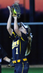 Roosevelt Joubert/C&SMediaTexas Plano East freshman Ronni Ramos hauls in a pop up. Ramos was named the 6-6A Newcomer of the Year.