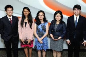 Jiaming Chen, Tiasha Joardar, Si Qi Tong, Caroline Hao and Patrick Ondrusek. Not pictured: Casey Hu.