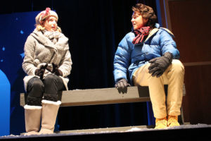 """Young lovers Ginette (Halle Dillard) and Pete (Jakob Fessler) hold an awkward conversation in """"Almost, Maine,"""" a production of Wylie High School theater students."""