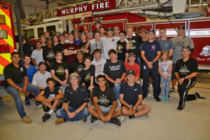 Plano East Senior High baseball teams from Williams and McMillen High Schools took time to visit the Murphy Fire Department last week to deliver support and supplies.