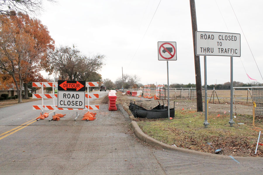 Road closed for sewer line installation
